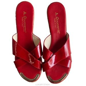 A.GIANNETTI red vintage style wedge 9.5